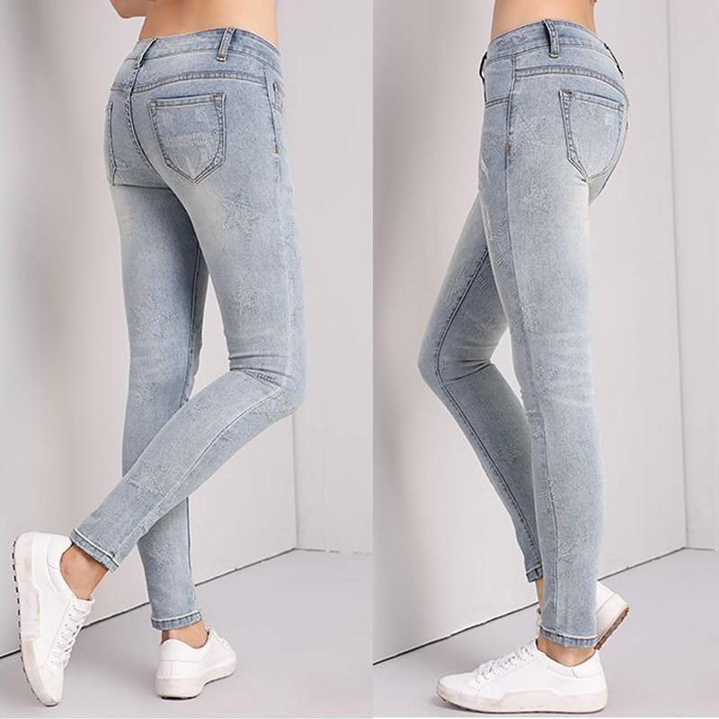 962575c035f Fashion Slim Jeans Women Skinny High Waist Jeans Woman Blue Denim Pencil  Pants Stretch Waist Women