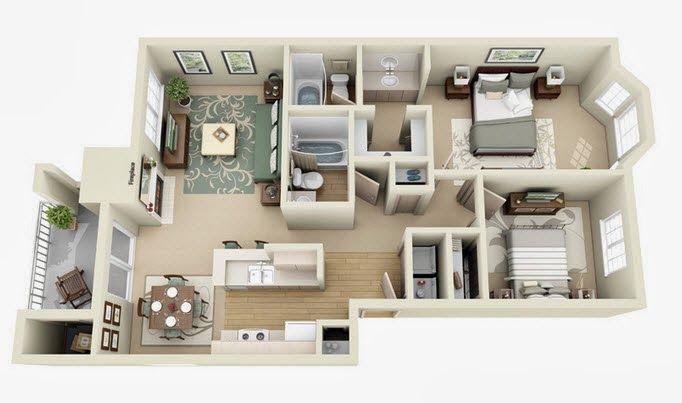 Departamentos peque os planos y dise o en 3d my room for Disenos departamentos pequenos planos