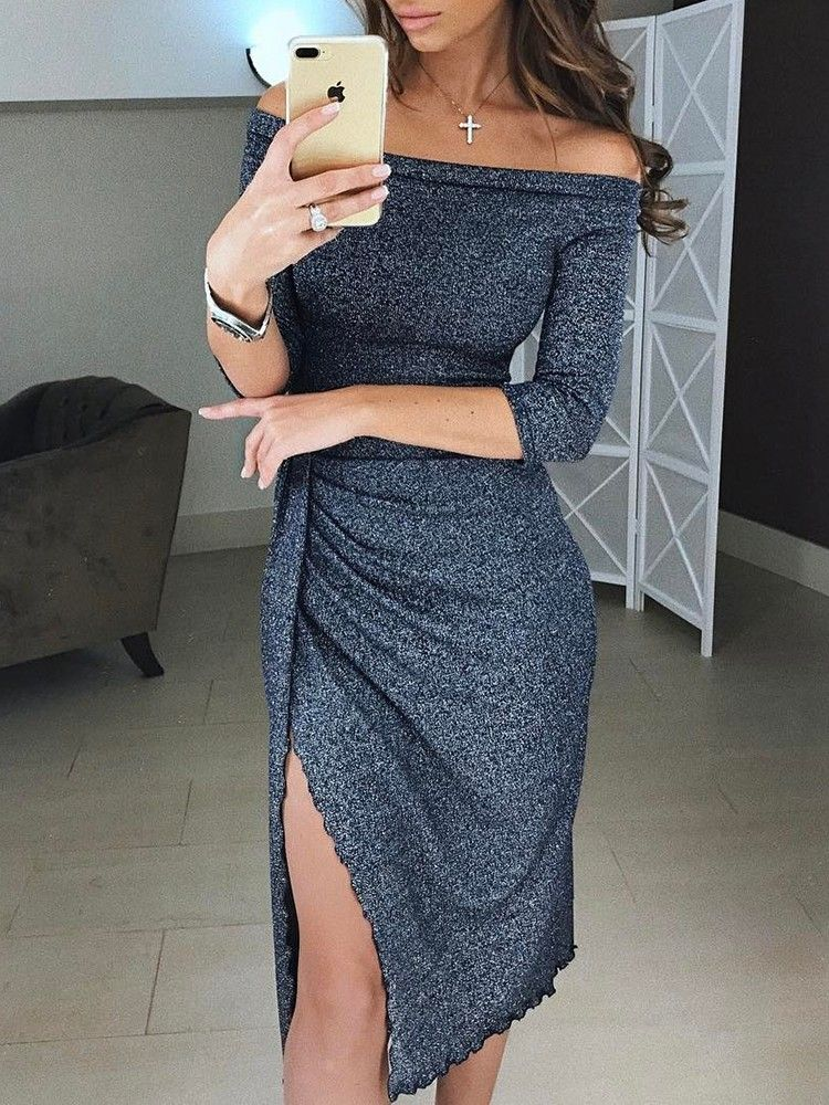 acde465b071  Chicme Cyber Week Big Sale Extra 10% OFF+ 50% OFF sitewide+ Check out with  PayPal save  5. Metallic Off Shoulder Sexy Pleated Dress