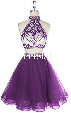 4c0332d25b6 Purple Short Halter Two Pieces Tulle Crystal Beaded Party Graduation Homecoming  Dress