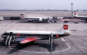 Vickers Viscount 802 de British European Airways en Londres-Heathrow, 1964.