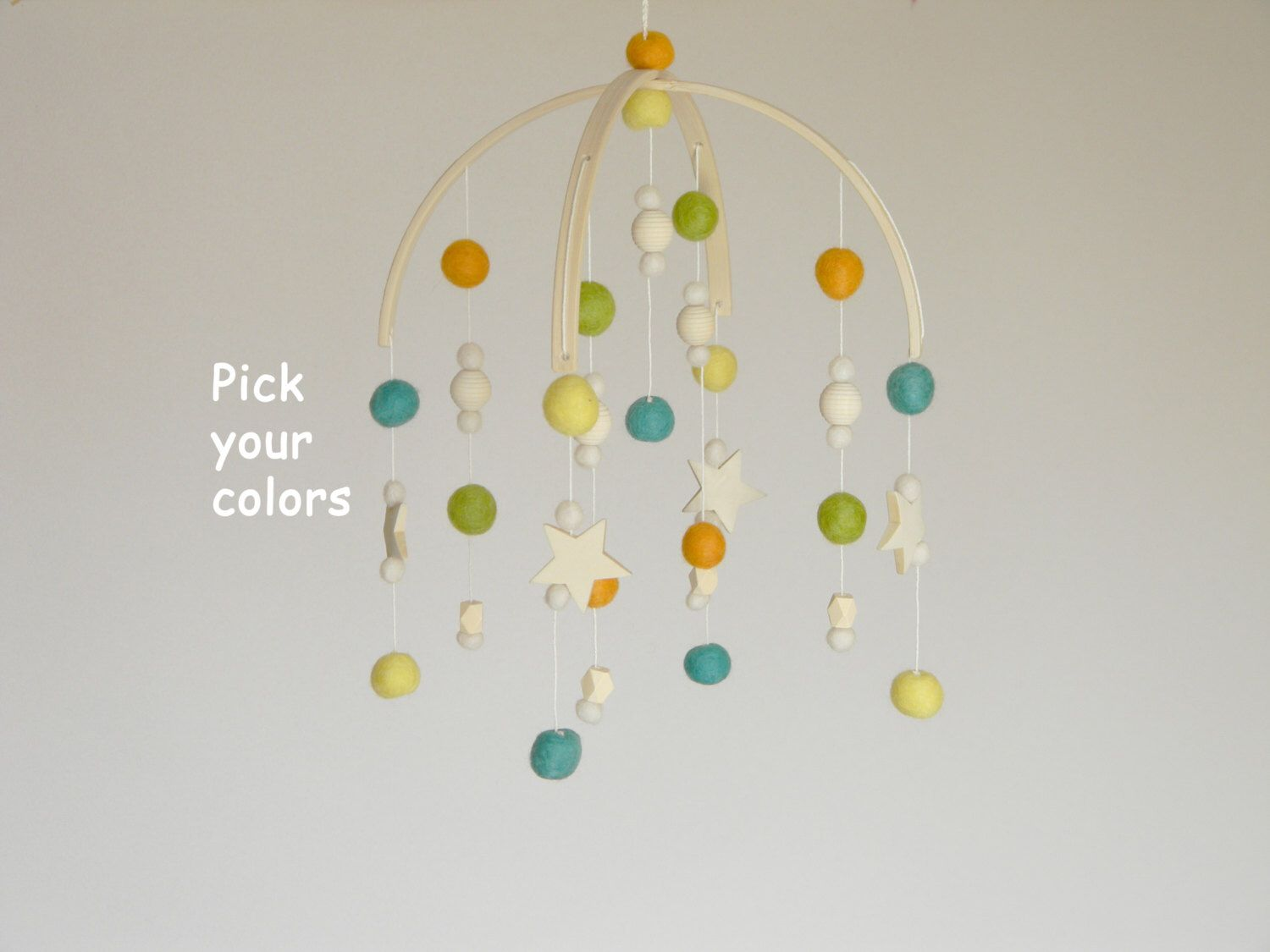 Wooden Baby Mobile Stars Hearts Baby Crib Mobile Gender Neutral Modern