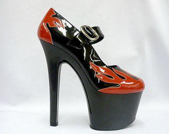 319b2c26050 Platform Red Flame Heels- 8