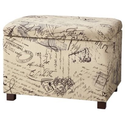 Square Mid Size Storage Ottoman Woven Script Pair With