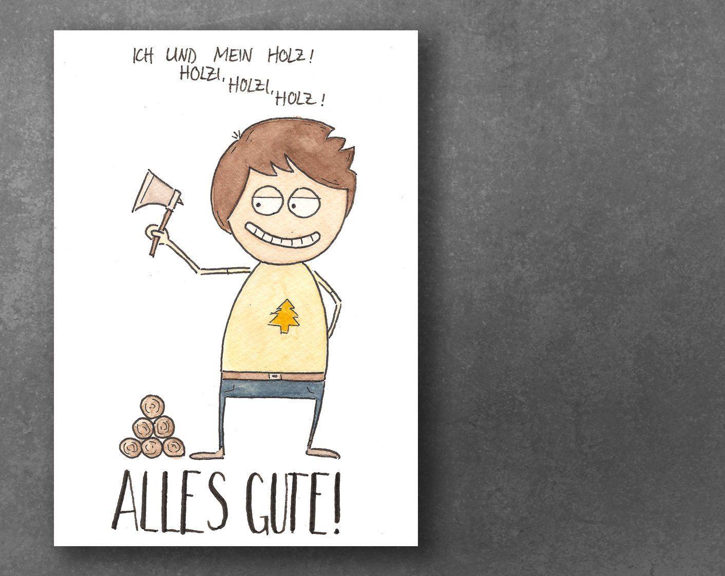 Geburtstagskarte Aquarell Holz Karten Ich Und Mein Holz Und Etsy