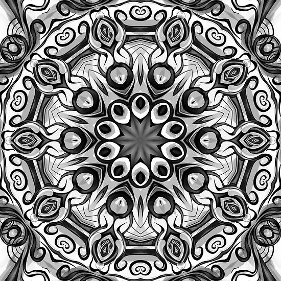 Black white pattern kaleidoscope 04 by fantasytripp