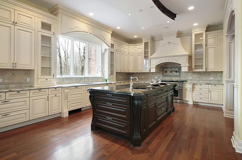 Antique White Kitchen Cabinet With Dark Island Antique White
