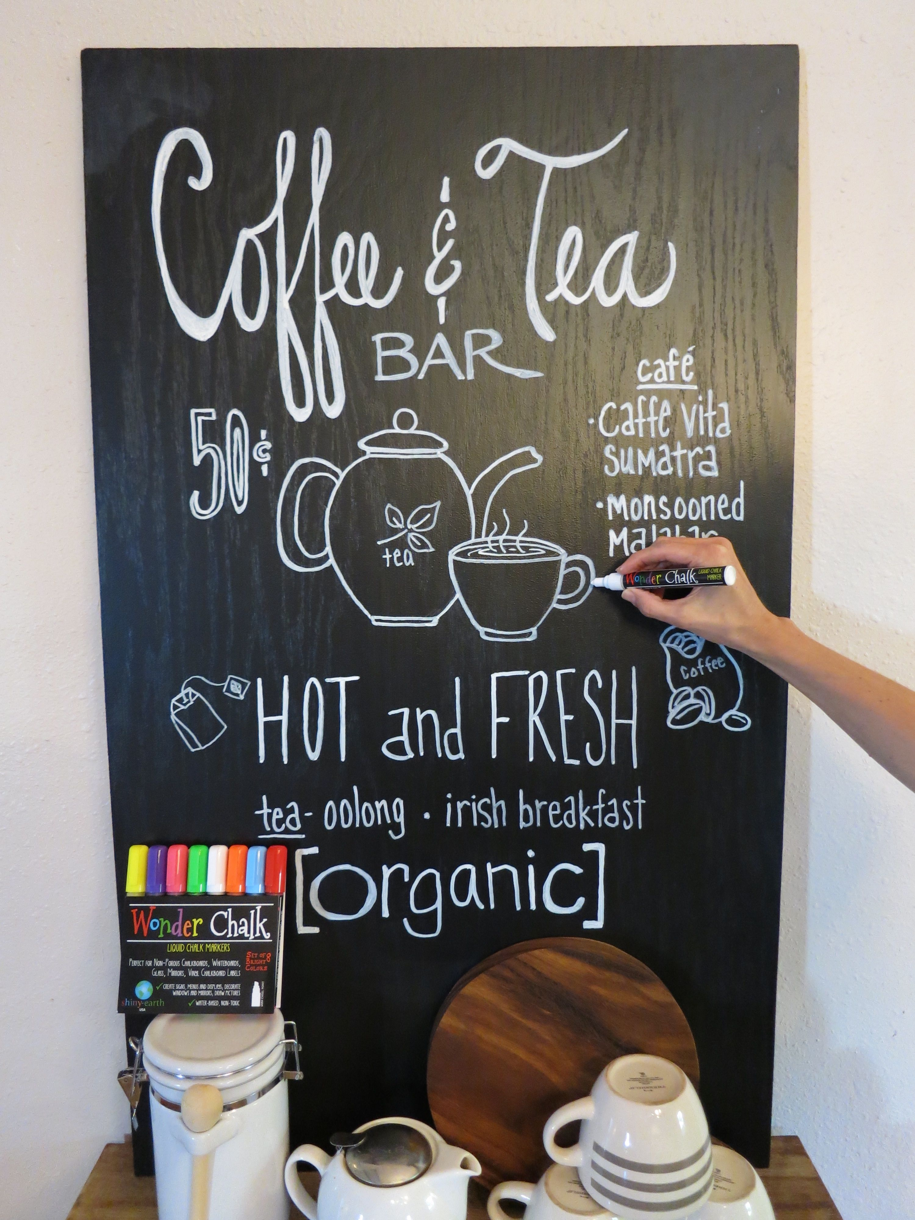 diy coffee bar sign from chalkboard painted plywood with a clear