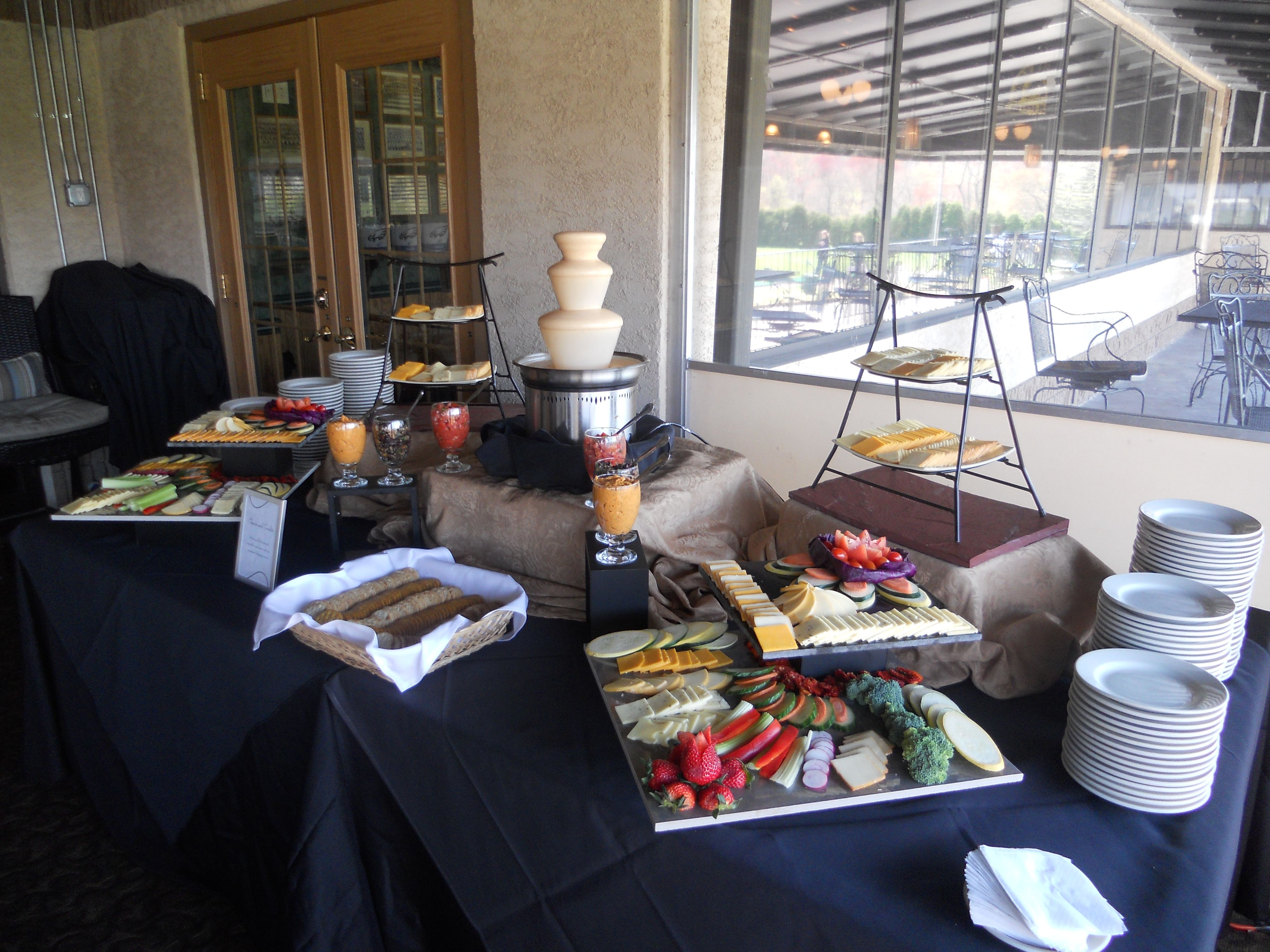 Fondue and Antipasti Station #welovefoodstations #fondue #antipasti #valleybrookweddings #valleybrookcountryclub