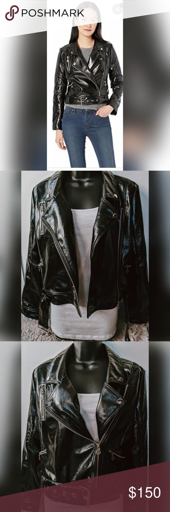 Nicole Miller New York Pleather Shiny Jacket Shiny Jacket Pleather Jackets [ 1740 x 580 Pixel ]
