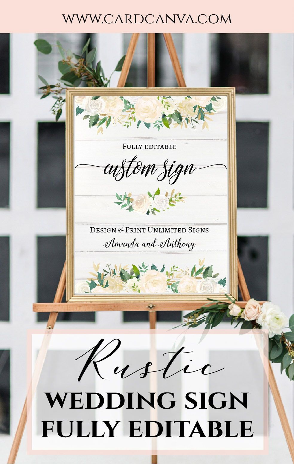Custom Wedding Sign, Template, Floral Party Sign Template, Wedding ...