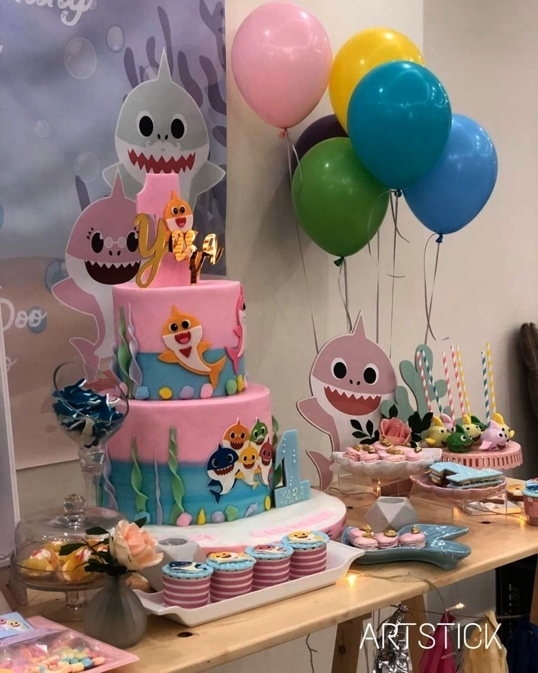 first birthday Yara  Baby shark theme decoration  Happy first birthday Yara  Baby shark theme decoration Happy first birthday Yara  Baby shark theme decoration  Festa Bab...