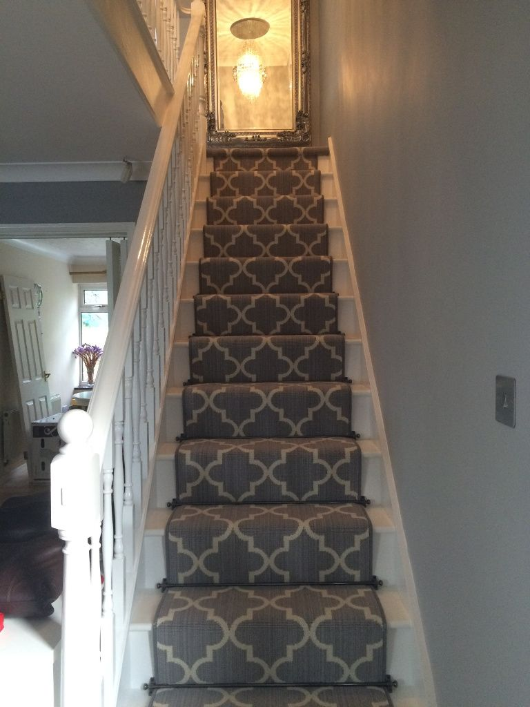 traditional grey and cream pattern stair runner from axminster carpets