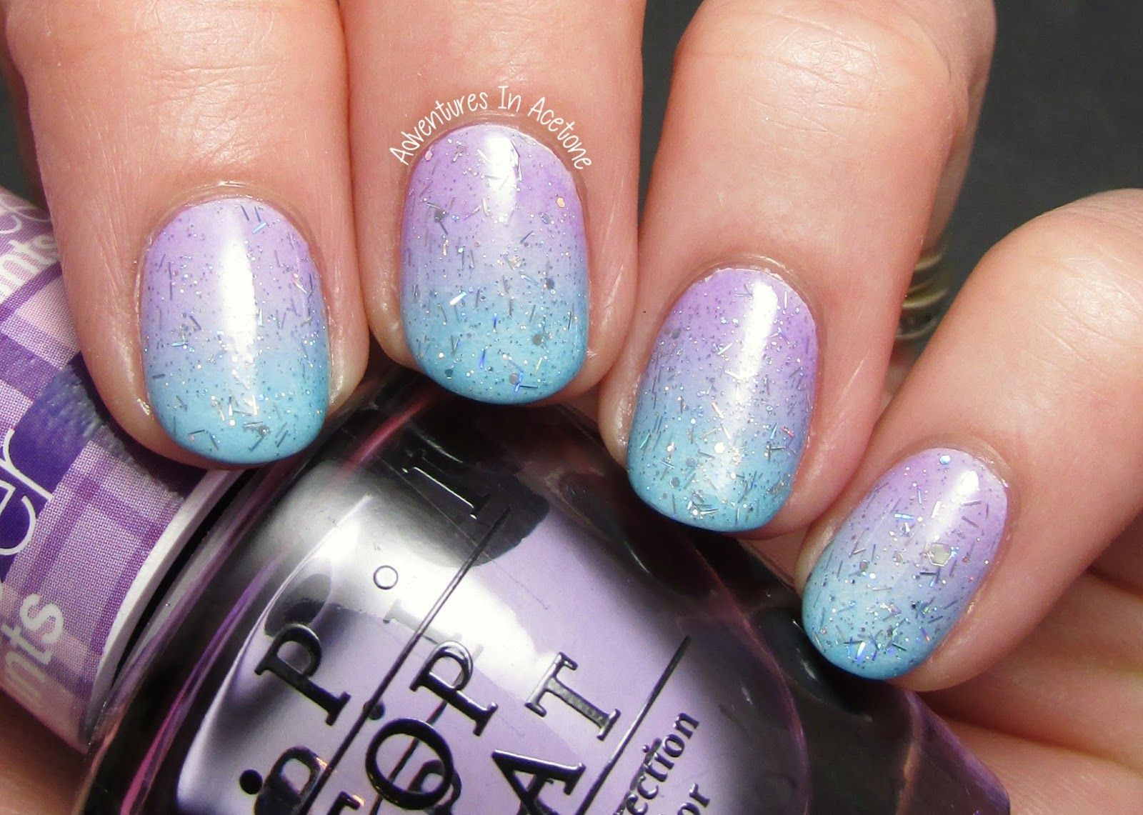 OPI My Boyfriend Scales Walls, OPI sheer tints Don't Violet Me Down and I Can Teal You Like Me, Desperately Seeking Sequins ; 3/25/14