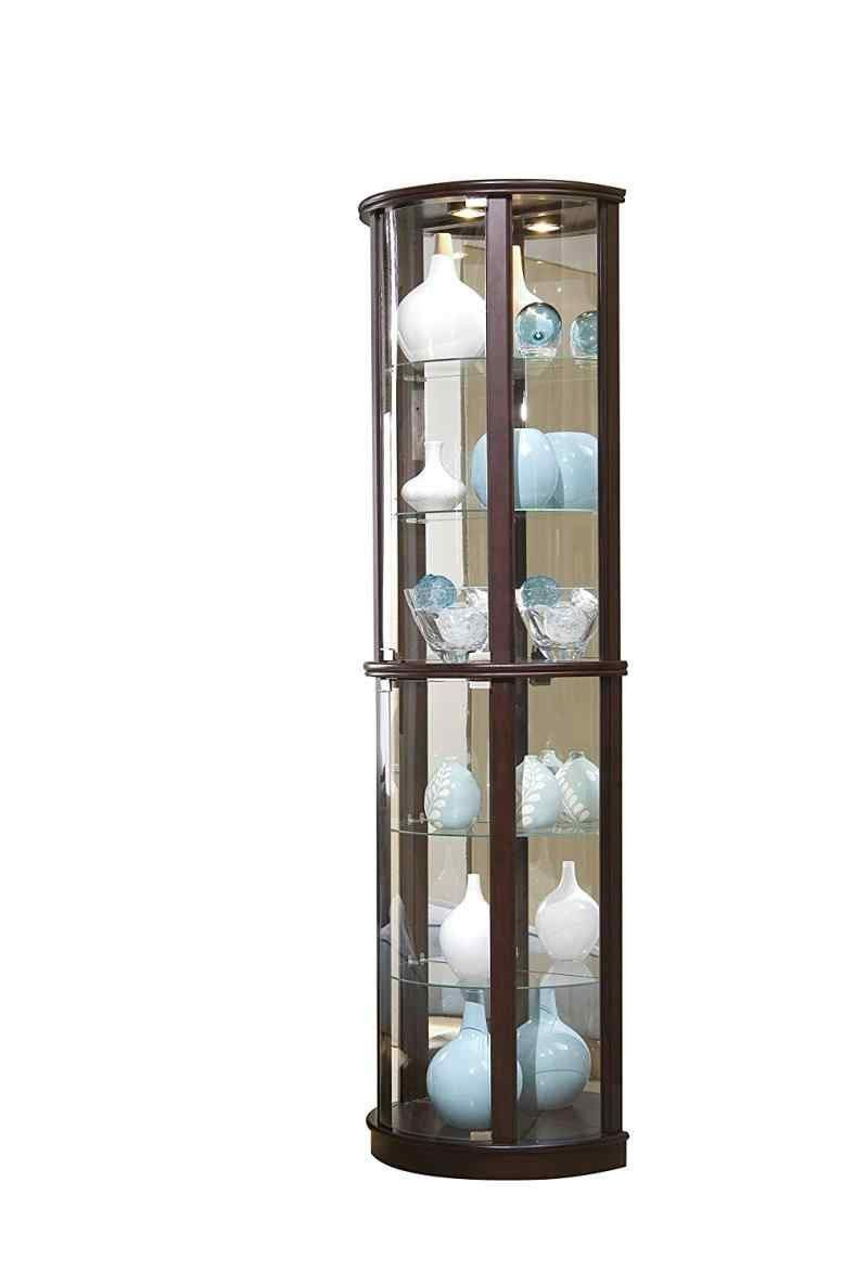 Elegant Corner Curio Cabinet with Light