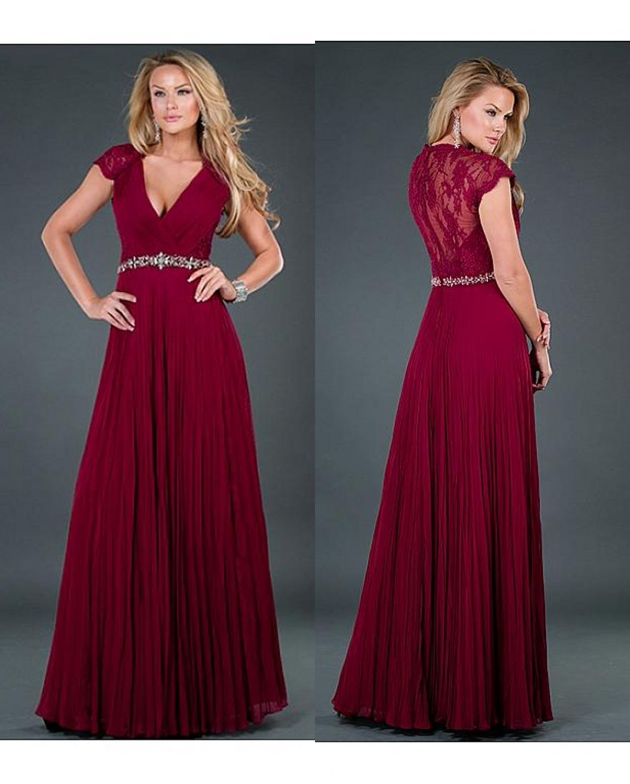 Click to buy ucuc burgundy aline long prom dresses cap sleeves v