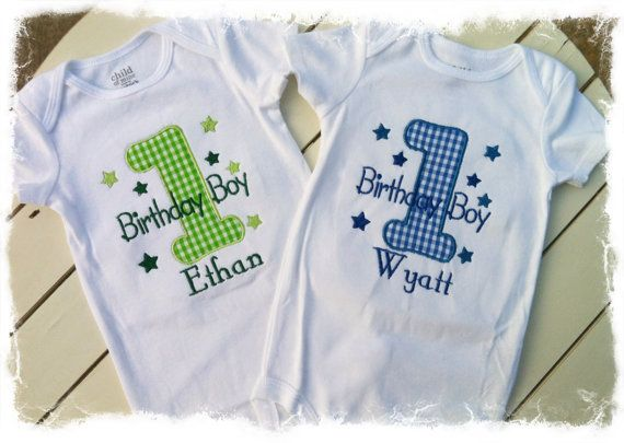 Personalized Twin Boys First Birthday SetBirthday Boy OutfitTwin