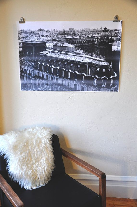 Items similar to paris rooftop poster large black and white engineer print on etsy