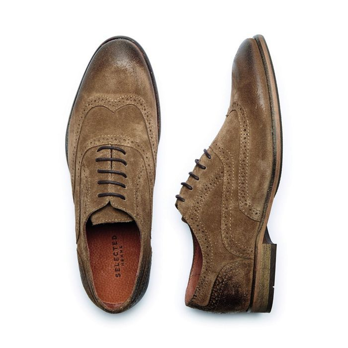 Brogues · Selected Homme Tan 'Bolton' Men's Suede Brogue Shoes- ...