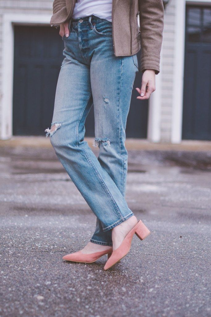 pink suede block heel mules for spring shoe style