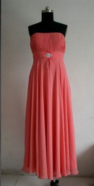 Custom Beach Strapless Ankle-length Chiffon Beading Long Bridesmaid/Evening/Party/Homecoming/Prom/Formal Dresses 2013 New arrival. $78.00, via Etsy.