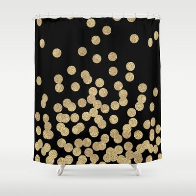 Gold Glitter Dots Scattered On Black Background Shower Curtain By