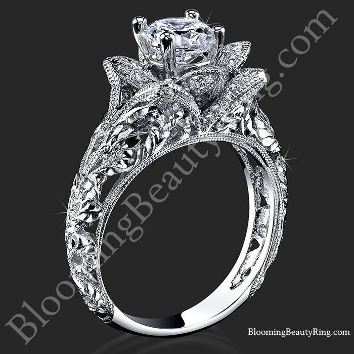 Diamond Embossed Blooming Rose Unique Flower Ring Rose Engagement Ring Antique Engagement Rings Vintage Victorian Engagement Rings