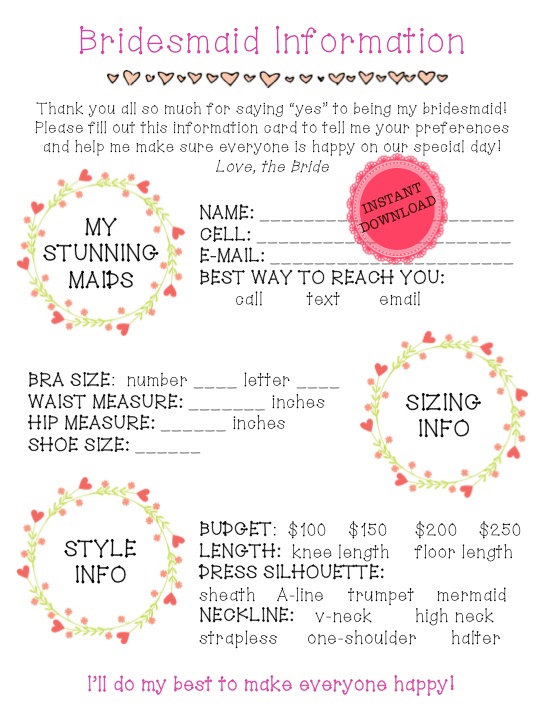 Printable bridesmaid information sheet bridal party planning sheet bridesmaid information sheet the day of on etsy this is the perfect way to organize your bridesmaidsbridal party and make sure everyone has voiced their spiritdancerdesigns Gallery
