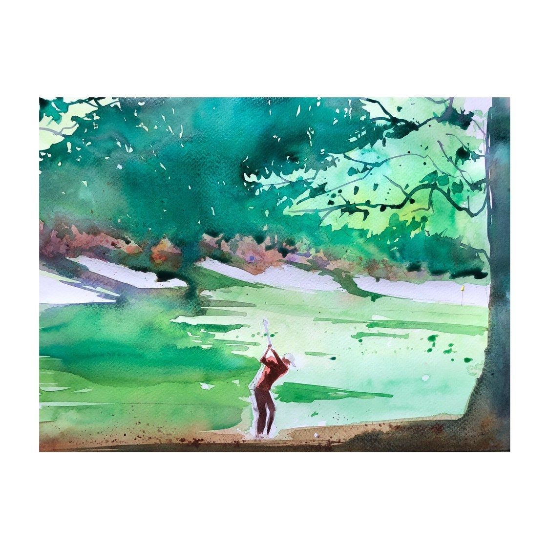 Golf Course Painting The Masters Tournament Augusta National Golf Golf Painting Golfer Gift Watercolor Paintin Golf Painting Golf Art Watercolor Mountains