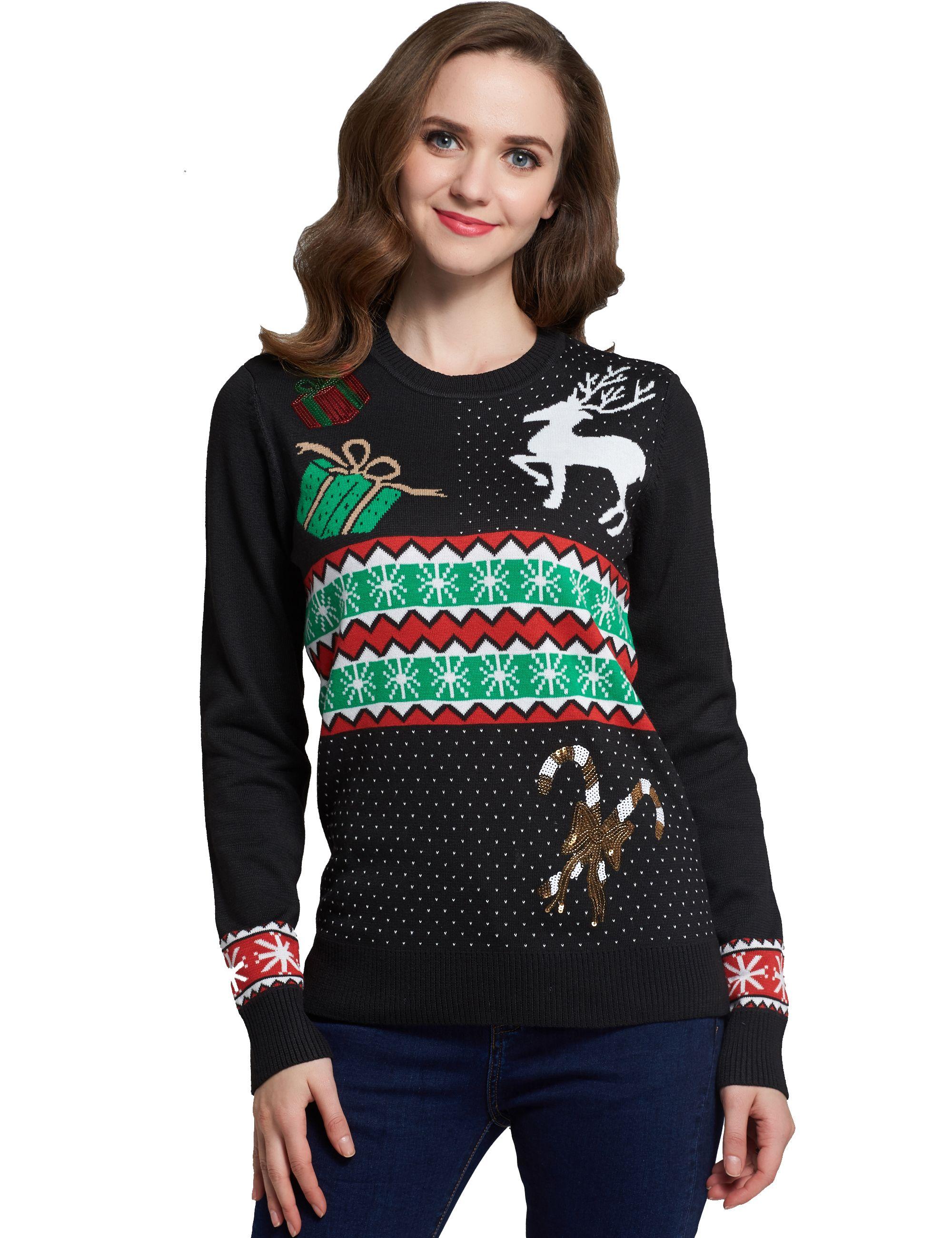 Women Reindeer Black Ugly Christmas Sweater Black Sweater Reindeer
