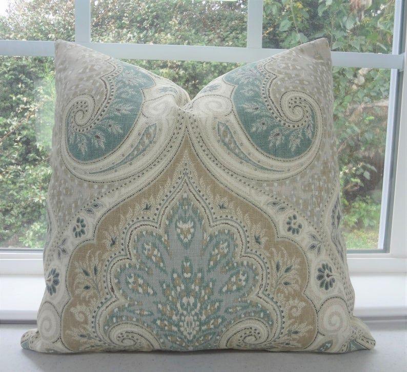 Kravet Latika Seafoam Linen Ikat Pillow Cover Green Tan Etsy In 2020 Ikat Pillows Paisley Throw Pillows Paisley Pillows