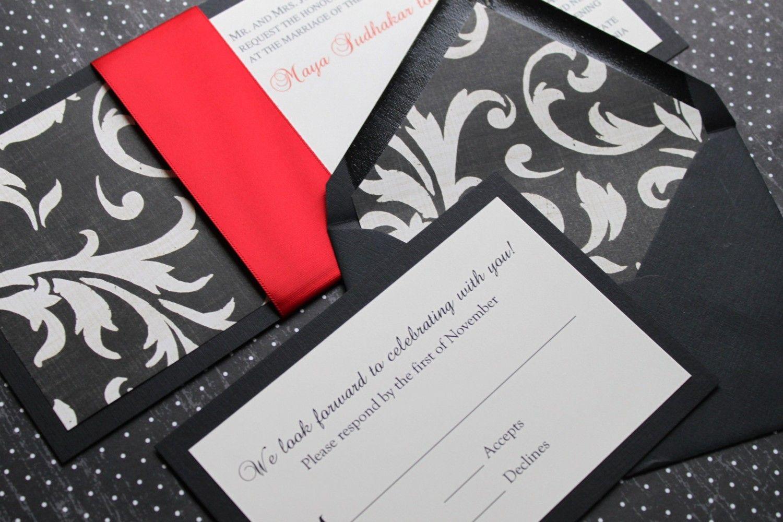 Envelope liners Red Damask, Black and White Damask, Modern Wedding ...