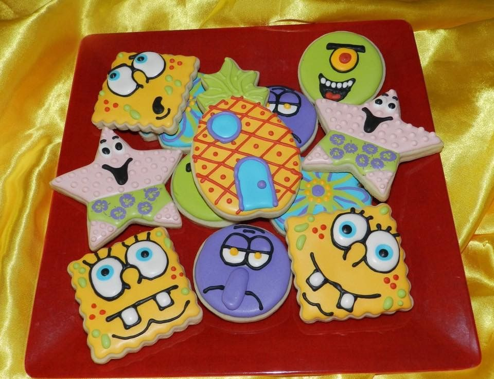 Sponge Bob Cookies Marine Momma Confections