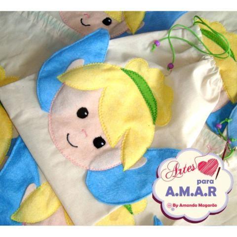 Bolsinha Sacolinha Infantil - Tema Tinker Bell E Peter Pan
