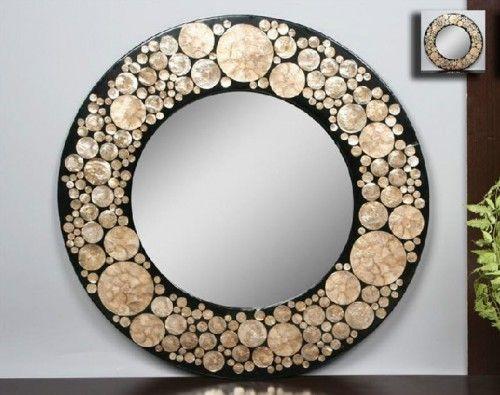 Espejo redondo dorado negro nacar decoracion for Espejos decorativos dorados