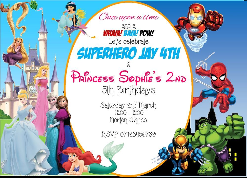 Princess And Superhero Party Invitation Template 3