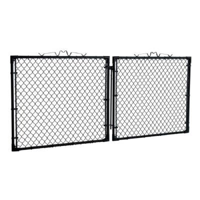 Yardgard 10 Ft W X 4 Ft H Black Drive Through Steel Gate Gda1048pbl The Home Depot Steel Gate Black Chain Link Fence Home Depot
