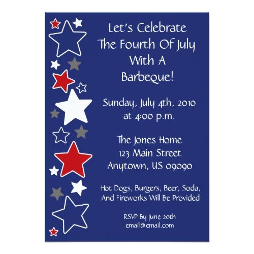 4th of july invitation red white and blue stars stopboris Images