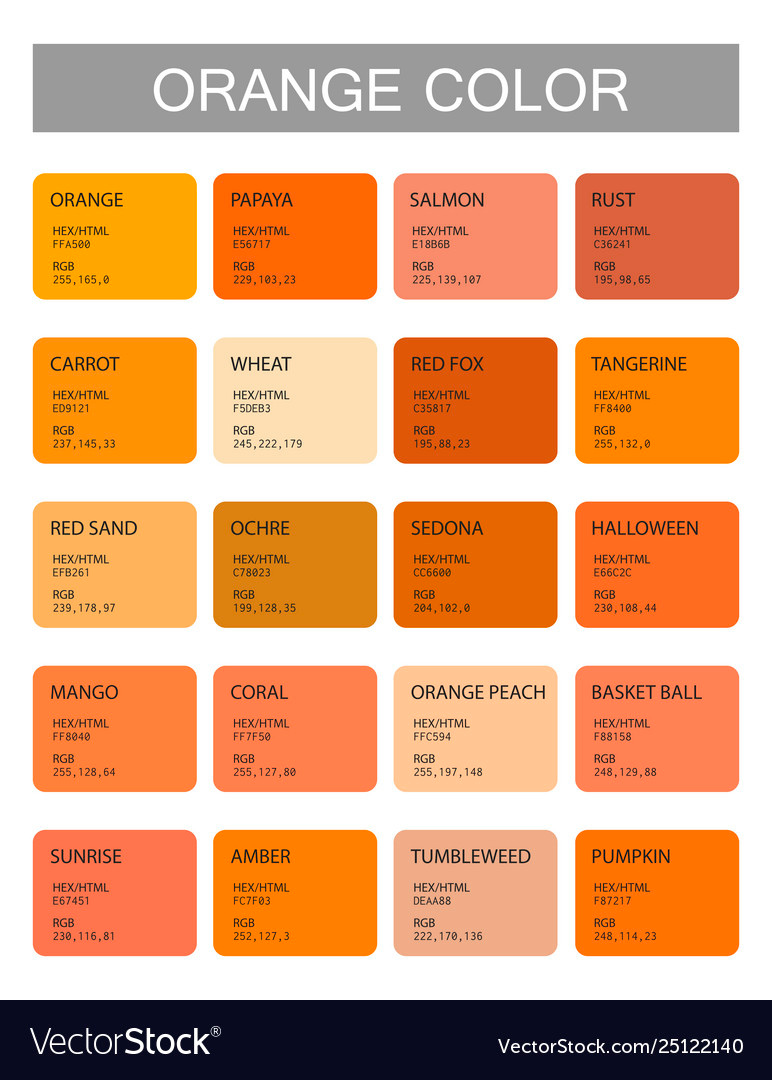 Orange Color Codes And Names Selection Colors Vector Image On Vectorstock Orange Color Code Orange Color Palettes Orange Color Shades