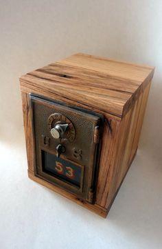 Hickory Wood Vault W/ Vintage Brass Bronze Post Office Door 53 Safe Bank  USPS Mailbox