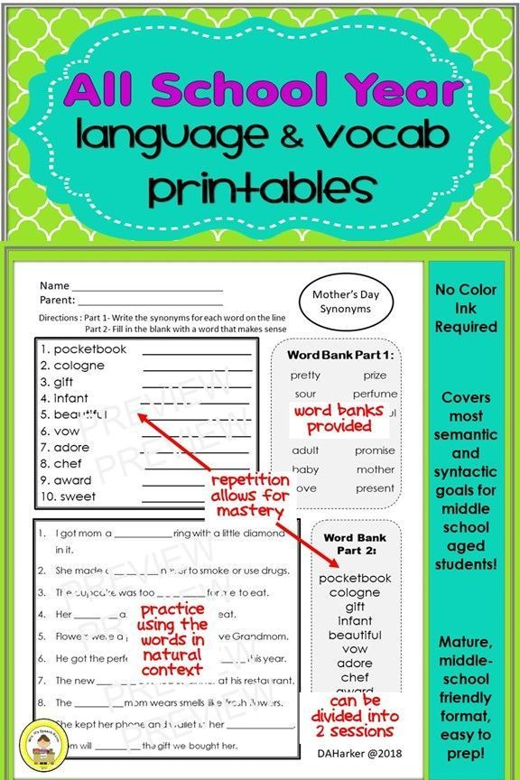 A Bundle of Themed Vocab & Grammar Printables for Middle ...