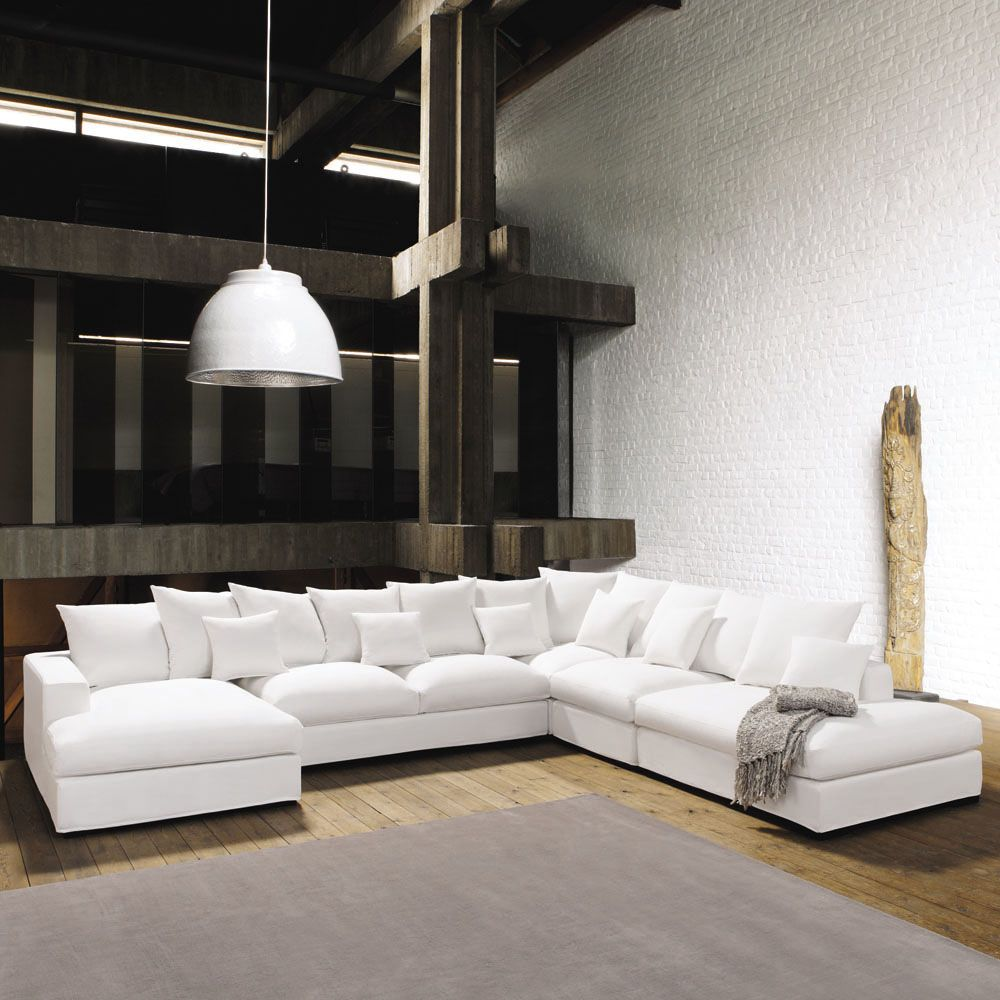 7 seater cotton modular corner sofa in ivory | Lofts, Corner and ...