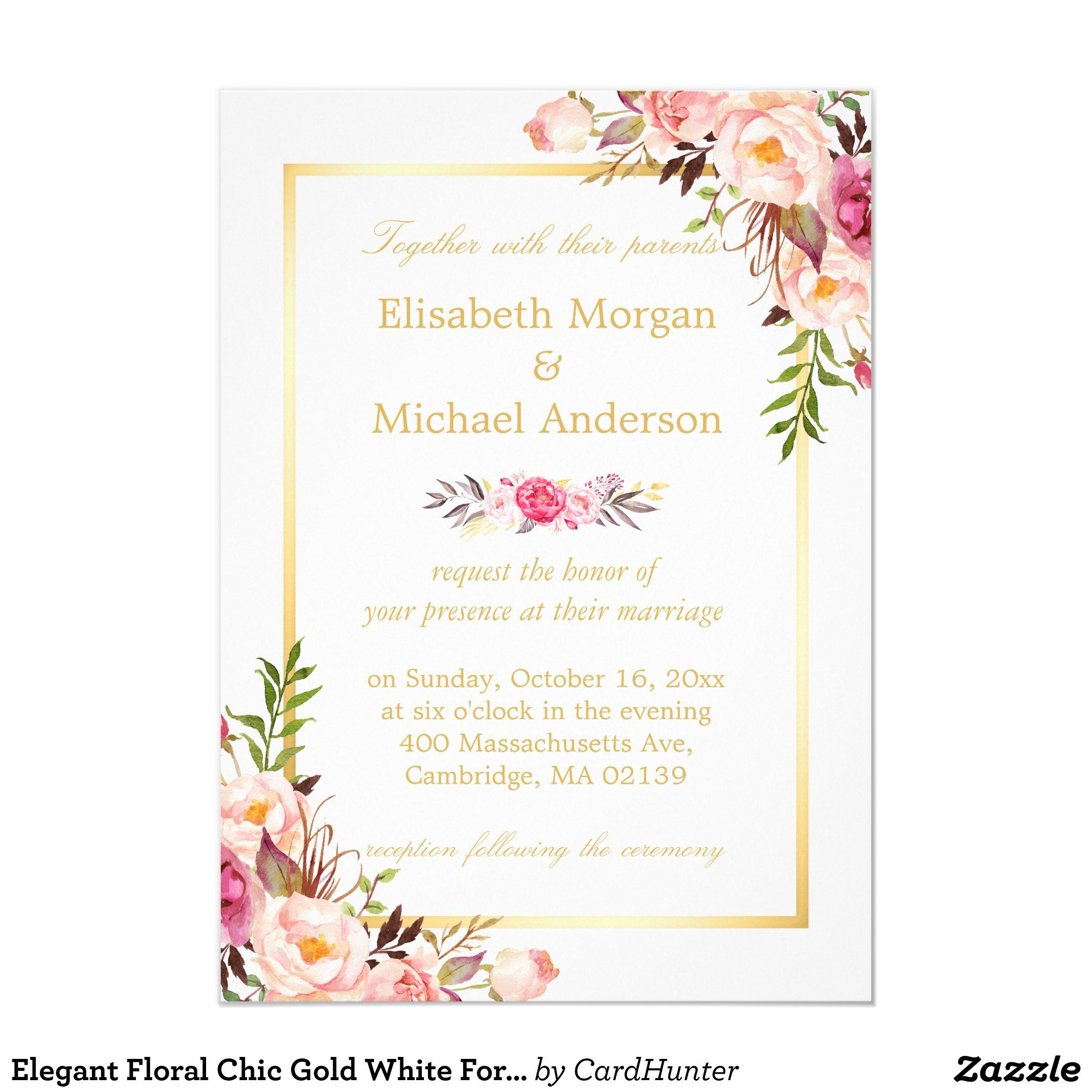 Elegant Floral Chic Gold White Formal Wedding Invitation Zazzle Co Uk In 2020 Formal Wedding Invitations Floral Wedding Invitations Fall Wedding Invitations