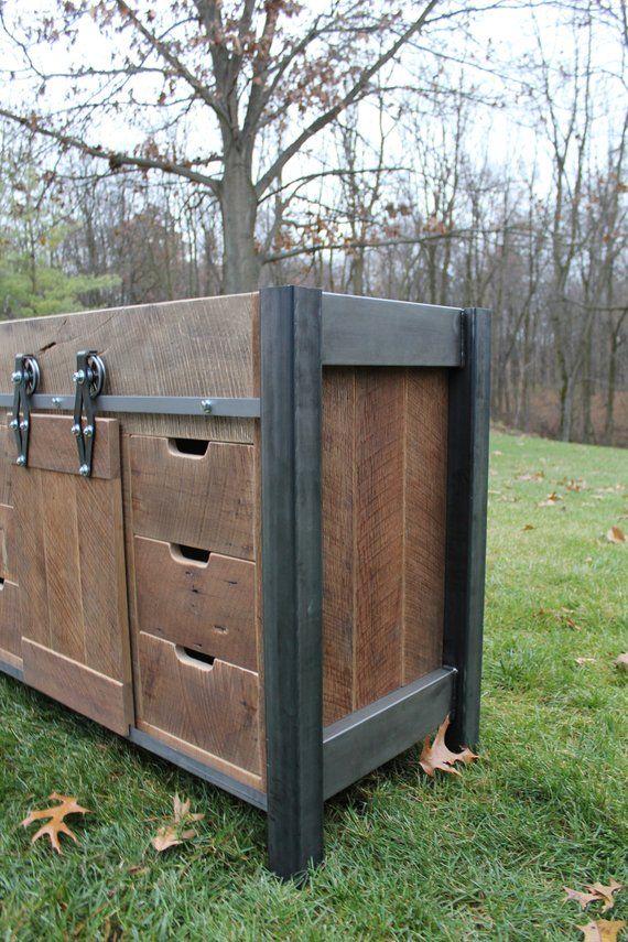 """Rustic Industrial Vanity (48"""") - Reclaimed Barn Wood ..."""