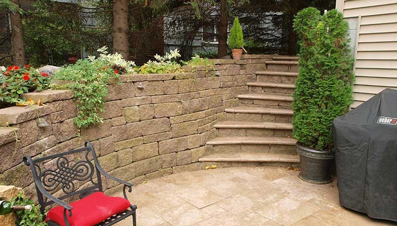 Curved Retaining Wall Stairs Concrete Block Wall Allan Block Pavers Stairs Patio Sunken Patio Retaining Wall