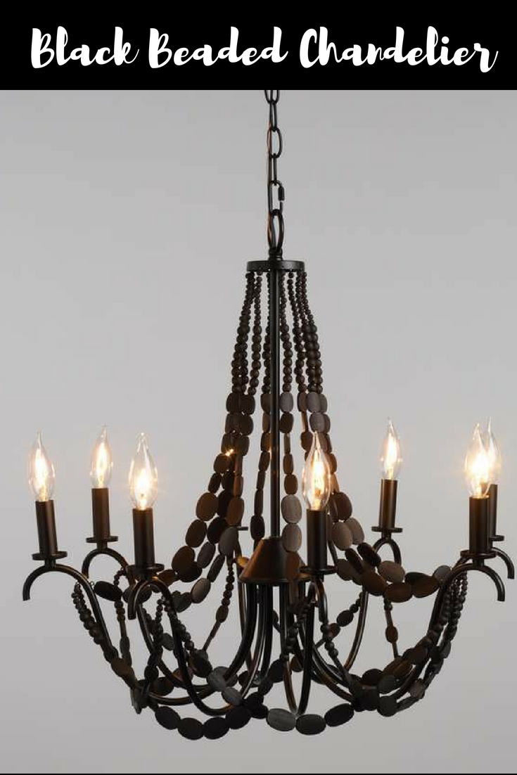 Black Wood Bead 8 Light Chandelier Featuring Strings Of Round And Flat Wood Beads Draped Across An Chandelier Black Chandelier Bathroom Light Fixtures Ceiling