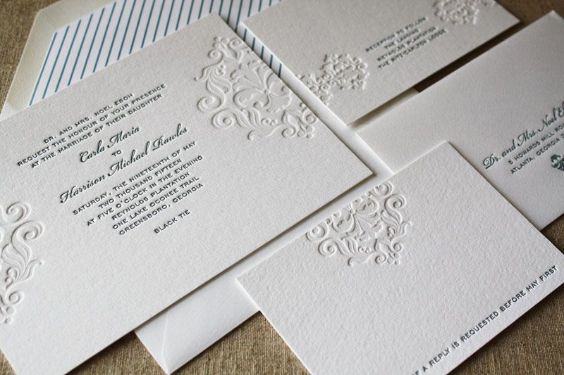 the windmill presents invitation designs from page stationery featuring letterpress blind deboss eco friendly papers and envelope liners - Letterpress Wedding Invitations