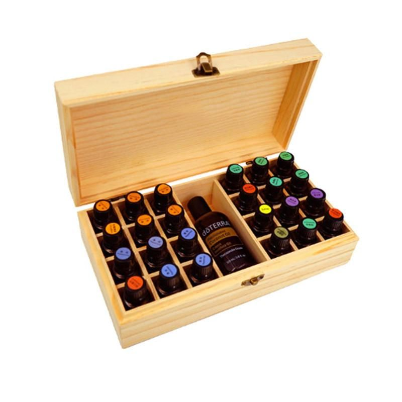 25 Holes Essential Oils Wooden Box 5ml 10ml 15ml Bottles Spa Yoga Club Aromatherapy Storage Case Essential Oil Storage Box Oil Storage Essential Oil Storage