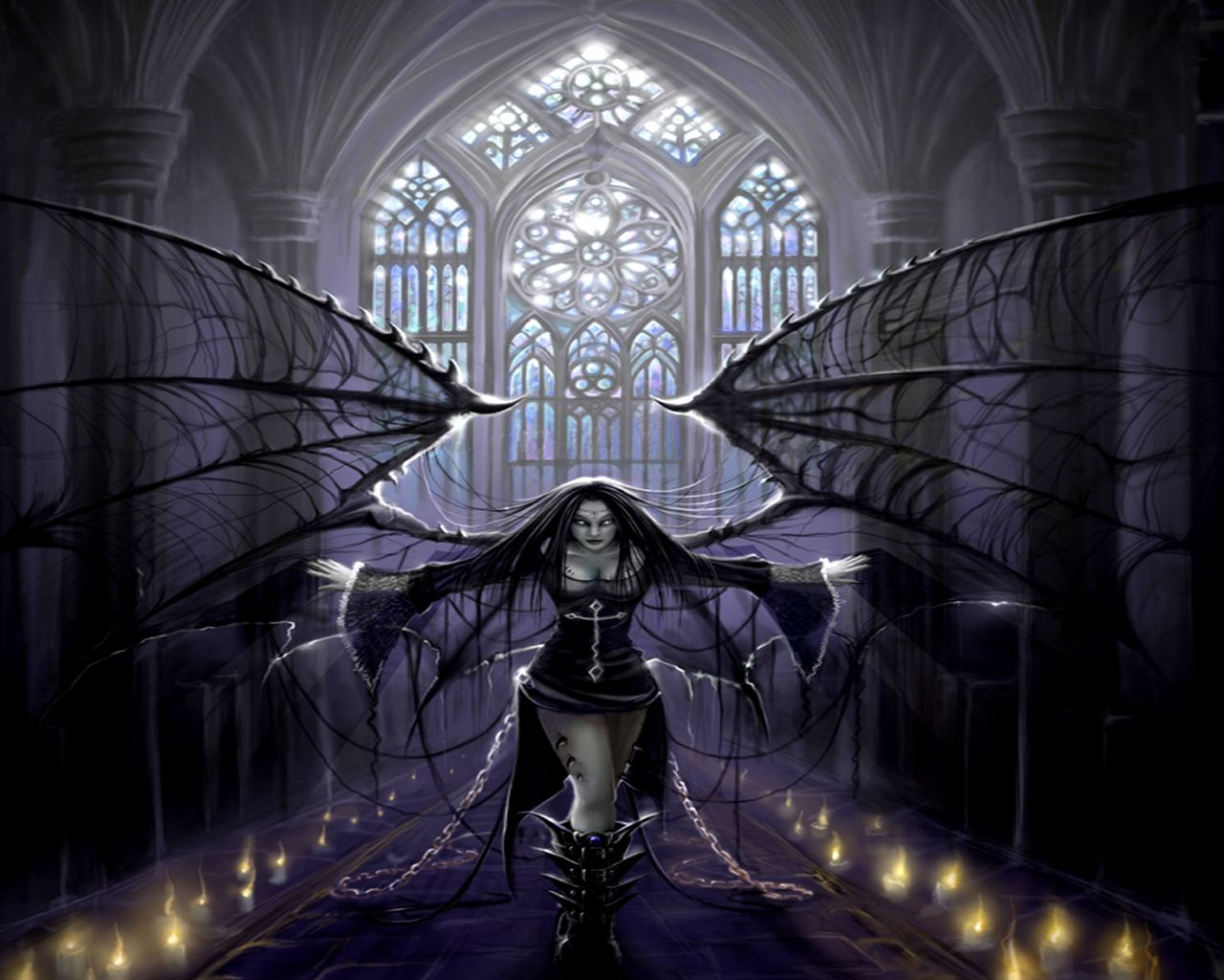 The wallflower anime goth girl gothic anime dark girl angel with chains from angels 1280x1024px
