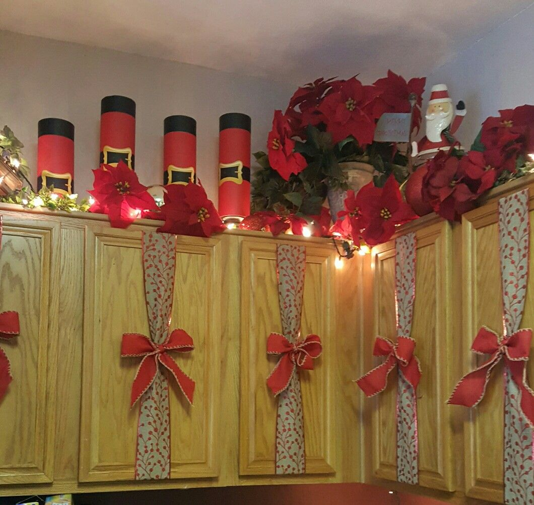 Kitchen Cabinet Christmas Decorating Ideas: Used Wine Bottles Containers From Michaels. $1 Each, Cheap